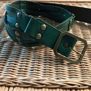 Linea Pelle Green Leather Belt